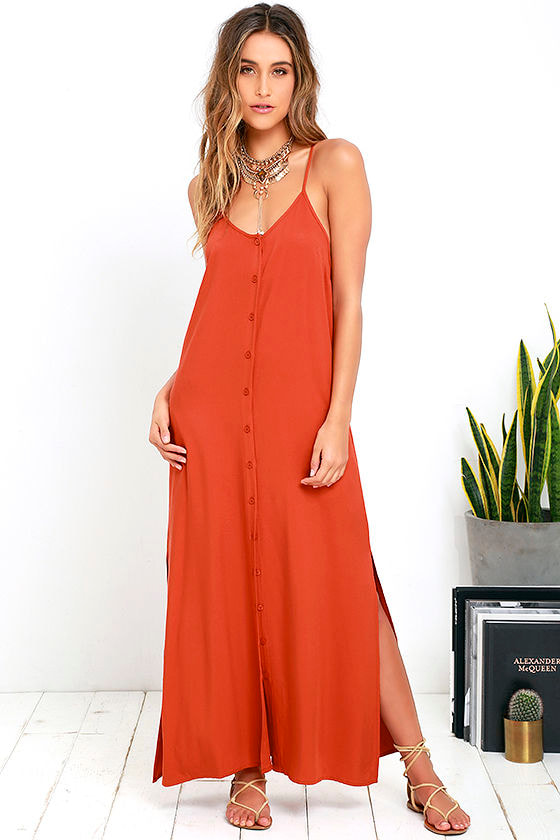 Chic Burnt Orange Dress Maxi Dress Button Up Maxi 54 00