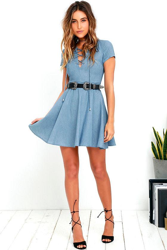 Cute Chambray Dress - Skater Dress - Lace-Up Dress - Blue Dress ...