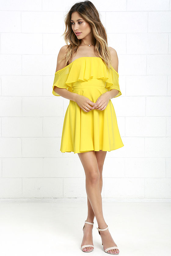 2f611b13bc1a Lovely Yellow Dress - Off-the-Shoulder Dress - Skater Dress -  64.00