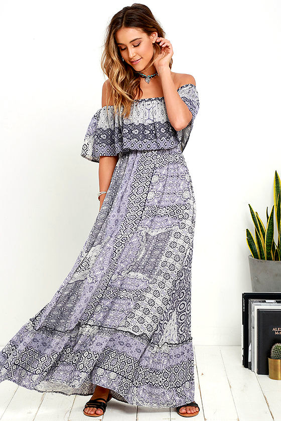 082b56b5b2f5 Cute Purple Print Dress - Off-the-Shoulder Dress - Maxi Dress -  59.00
