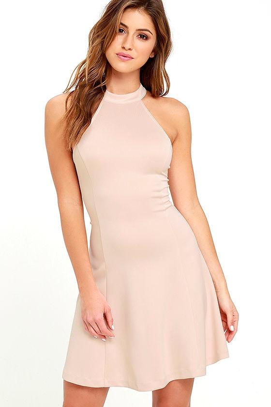 Cute Beige Dress - Fit-and-Flare Dress - Sleeveless Dress - $42.00
