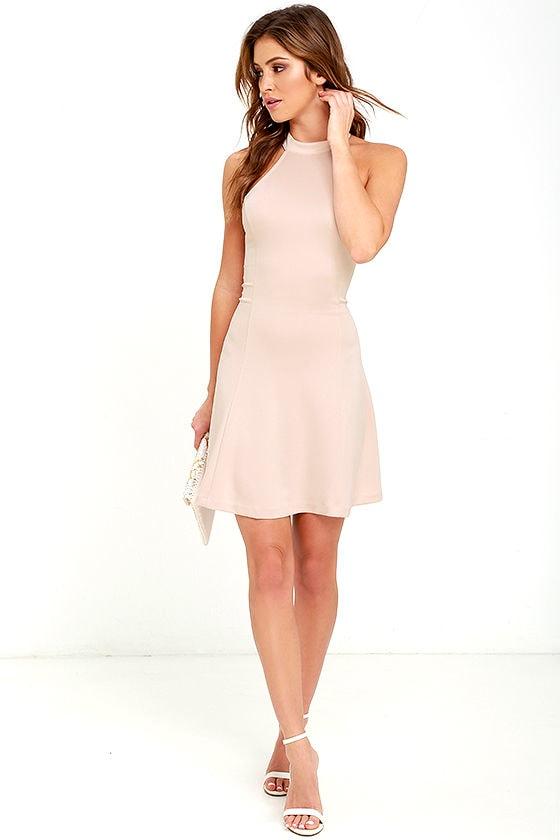e6db9110d18 Cute Beige Dress - Fit-and-Flare Dress - Sleeveless Dress -  42.00