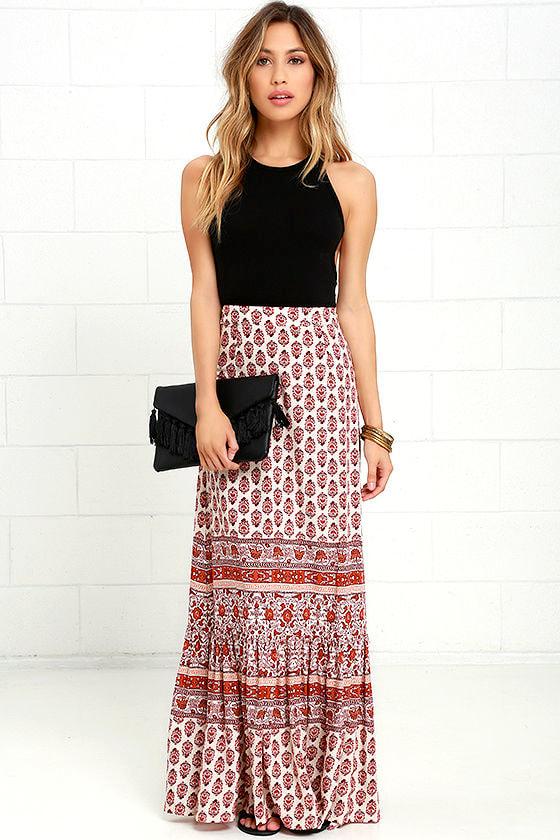 f4f556f0db Boho Maxi Skirt - Print Maxi Skirt - Rust Orange Skirt - $59.00
