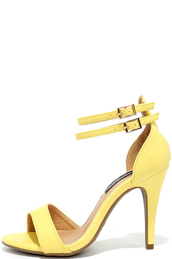 Pretty Yellow Heels - Ankle Strap Heels - $28.00