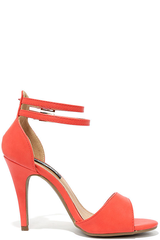 Pretty Orange Heels - Ankle Strap Heels - $28.00