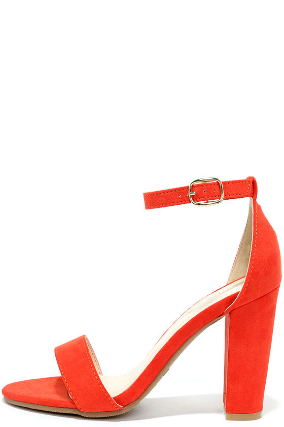 Cute Orange Heels - Ankle Strap Heels - Dress Sandals - $28.00