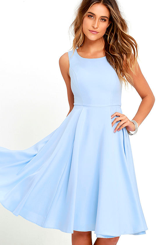 Lovely Periwinkle Blue Dress - Midi Dress - Sleeveless Dress - $59.00