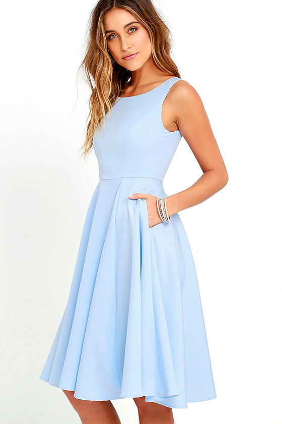 Lovely Periwinkle Blue Dress - Midi Dress - Sleeveless Dress - $59.00