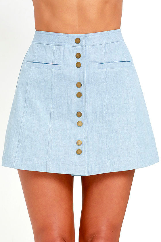 Cute Blue Skirt - Chambray Skirt - A-Line Skirt - $44.00