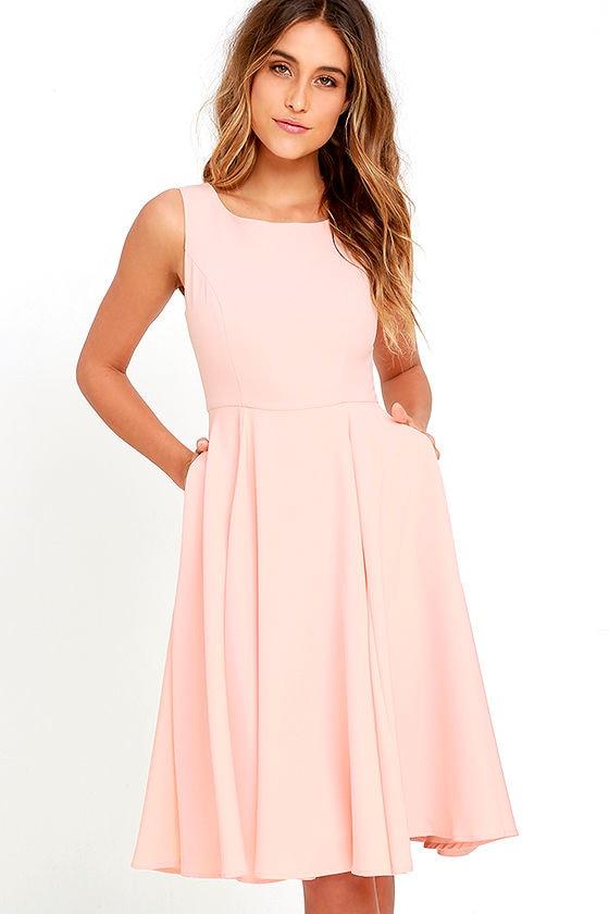 981e7235b75a Lovely Peach Dress - Midi Dress - Sleeveless Dress - $59.00