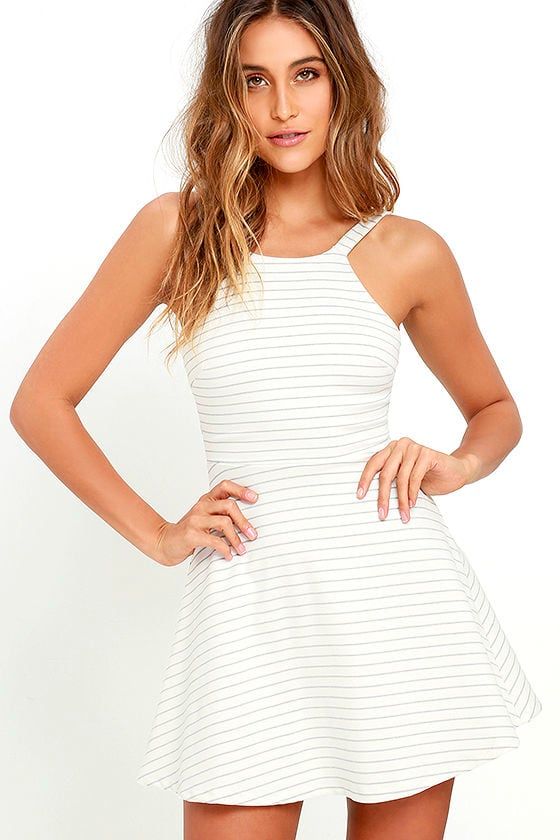 6d90530a1c73 Cute Striped Dress - Skater Dress - Short Dress -  52.00