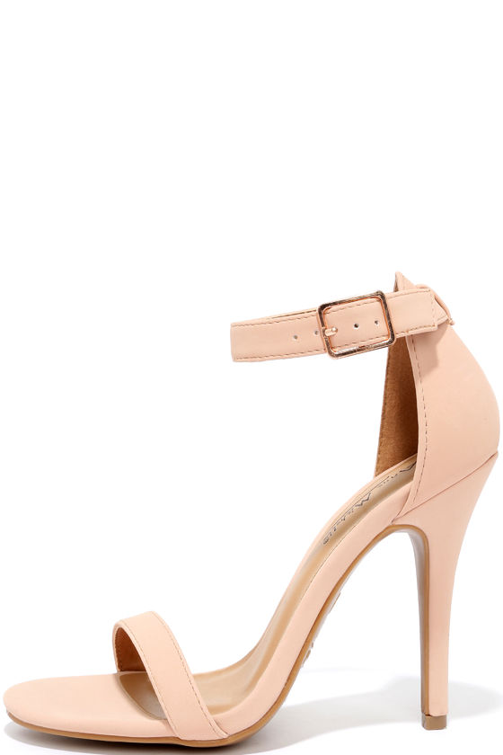 Cute Blush Heels - Ankle Strap Heels - Dress Sandals - $28.00