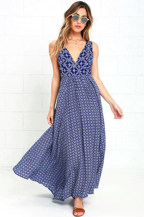 f7ff31eb30af Boho Maxi Dress - Blue Print Maxi Dress - Lace-Up Maxi Dress - $57.00