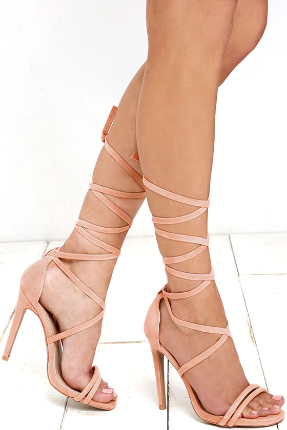 Cute Lace Up Heels Dress Sandals Peach Heels 31 00
