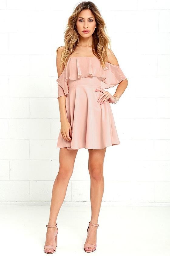 Lovely Nude Dress - Off-the-Shoulder Dress - Skater Dress -  64.00 c318ddc0a