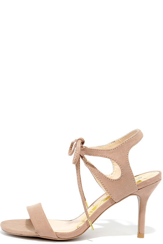 Reception Taupe Suede Lace-Up Heels 1