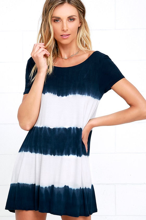 ba6c3e9b7dbb Cute Navy Blue Tie-Dye Dress - Swing Dress - Short Sleeve Dress -  39.00