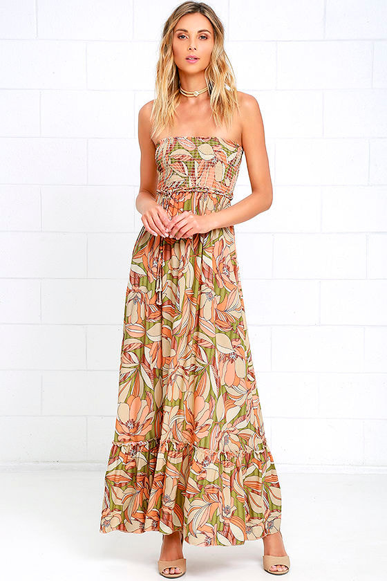 Pretty Coral Orange Maxi Dress Strapless Dress Floral Print