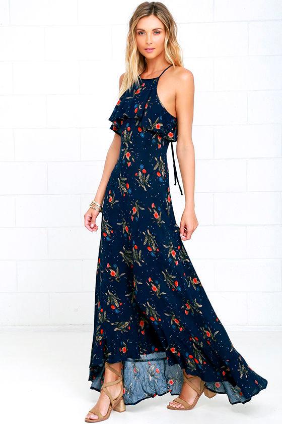7d85446548 Lovely Floral Print Maxi Dress - Navy Blue Maxi Dress- $68.00