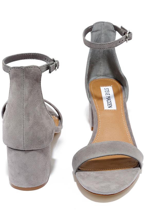 Cute Grey Heels - Ankle Strap Heels