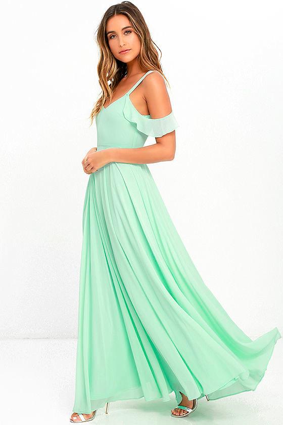 Stunning Mint Green Dress Maxi Dress Gown Formal Dress 7900
