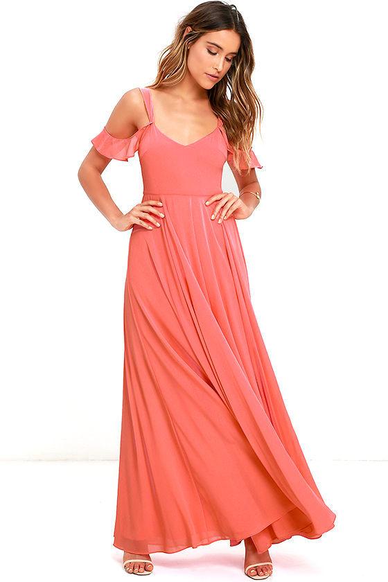 dd052b5152 Stunning Coral Pink Dress - Maxi Dress - Gown - Formal Dress -  79.00