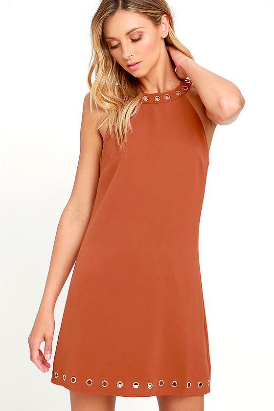 21d85919 Burnt Orange Dress - Sheath Dress - Sleeveless Dress - $59.00