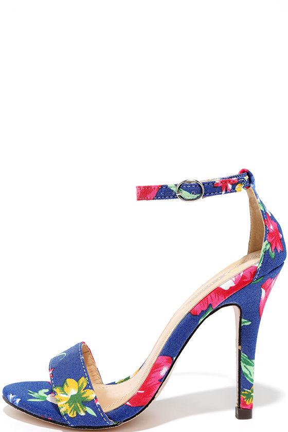 Floral Print Heels - Blue Print Heels - Ankle Strap Heels - $31.00