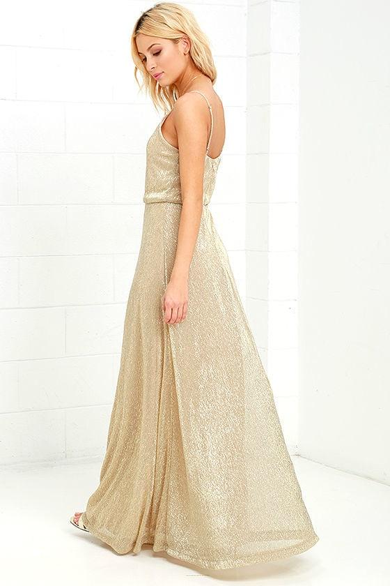 Lovely Gold Dress - Maxi Dress - Metallic Dress - $94.00