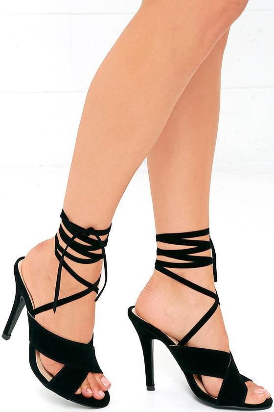 cded7eed02a11c Velvet Heels - Lace-Up Heels - Black Heels -  34.00