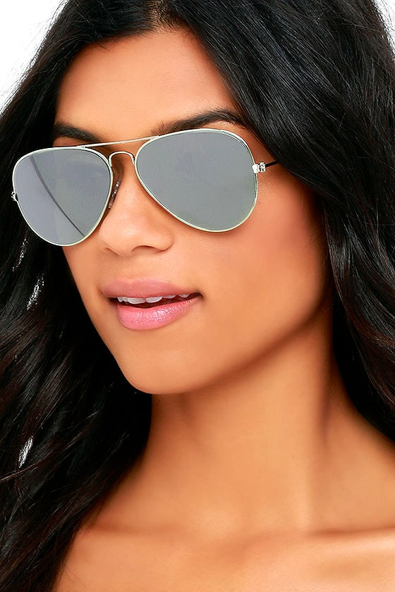 1cd9a5df7f581 Cool Silver Sunglasses - Aviator Sunglasses - Mirrored Sunglasses -  14.00