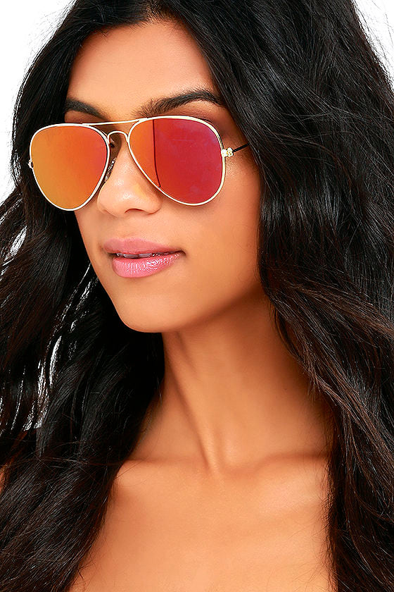 Cool Gold And Red Sunglasses Aviator Sunglasses Mirrored