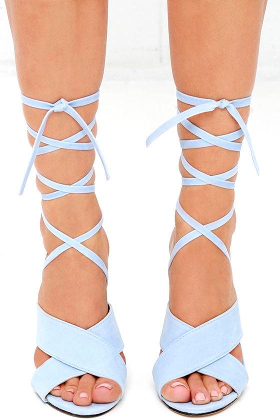 Velvet Heels - Lace-Up Heels - Light