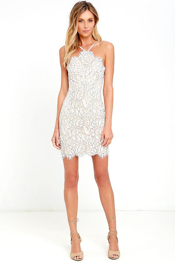 Lovely Ivory Dress - White Dress - Lace Dress - Bodycon Dress - $54.00