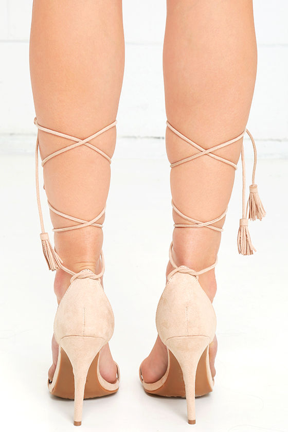 Cute Nude Heels - Lace-Up Heels - Dress Sandals - 3100-2588
