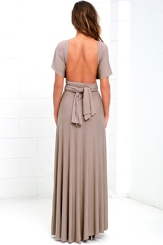 Tricks of the Trade Taupe Maxi Dress 8