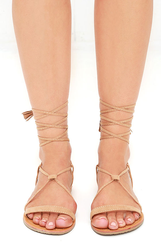 69a5eafcf68ec0 Cute Camel Sandals - Flat Sandals - Lace-Up Sandals -  14.00