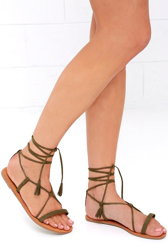 bb92d6c2181cb7 Cute Olive Sandals - Flat Sandals - Lace-Up Sandals -  14.00