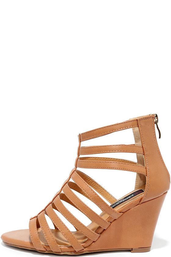 f3068c00a1c Cute Wedges - Camel Heels - Caged Heels -  30.00