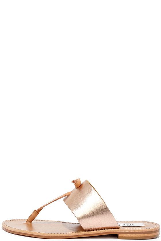 8afaf0752 Steve Madden Olivia - Rose Gold Sandals - Leather Sandals -  49.00