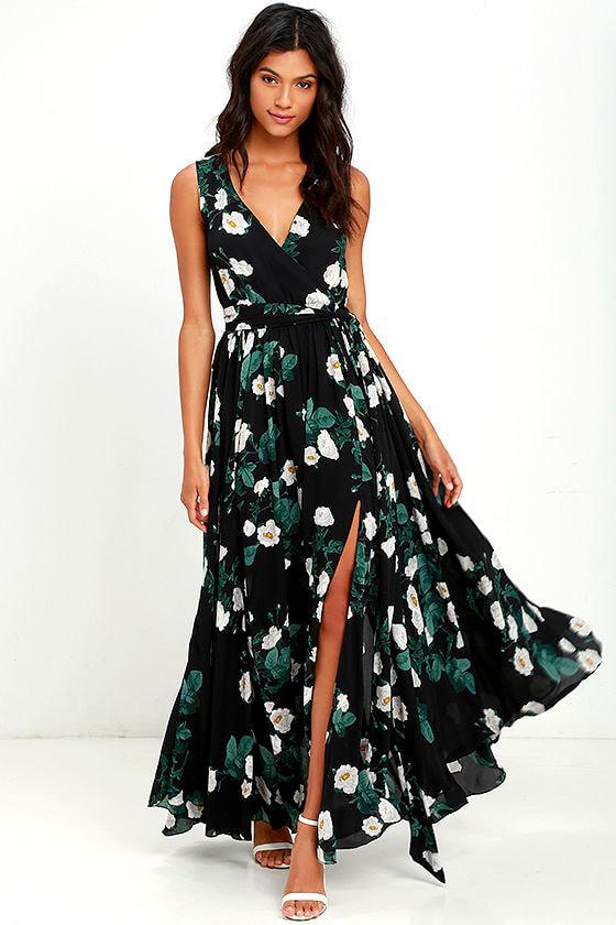 Magnolia Blooms Black Floral Print Maxi Dress 1