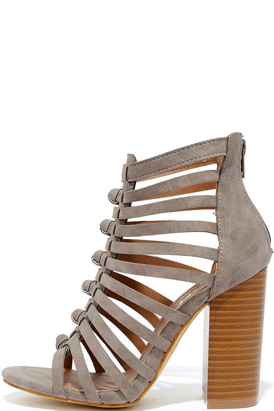 85c05f49e82 Glide Past Grey Caged Peep-Toe Heels