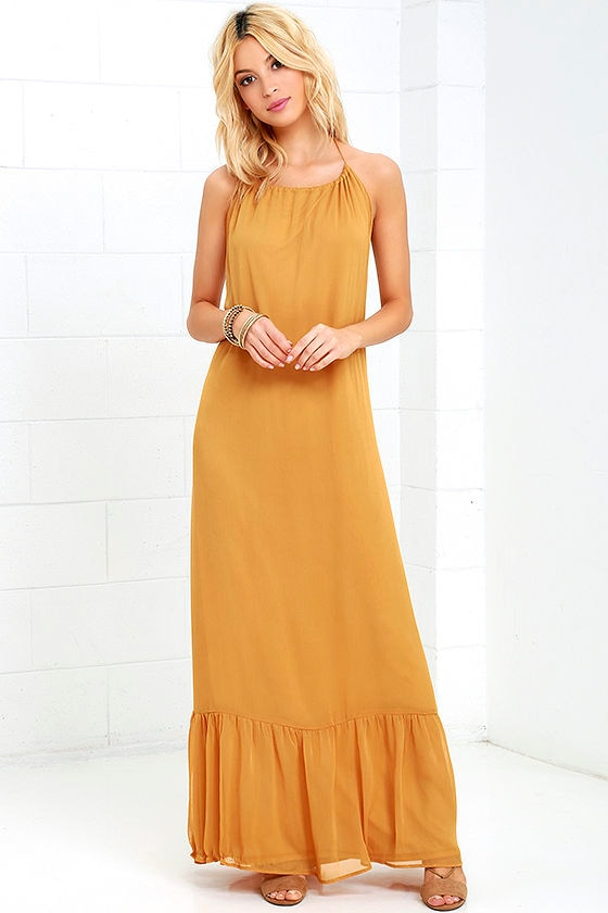 Fun Golden Yellow Dress - Halter Dress - Maxi Dress - Backless Dress - $56.00