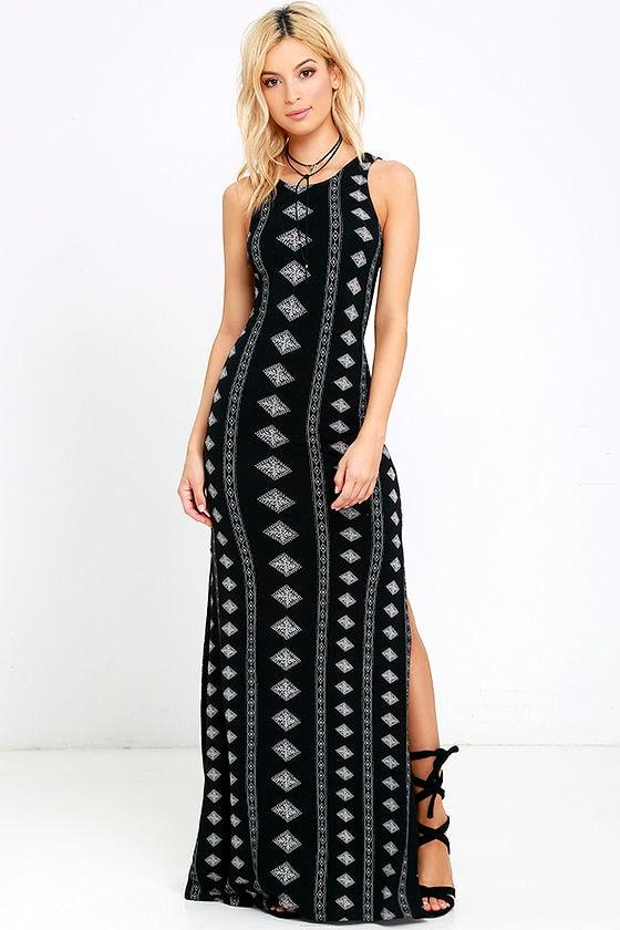 5fa438d3e2 Amuse Society Fawn - Black Print Dress - Maxi Dress - $69.50