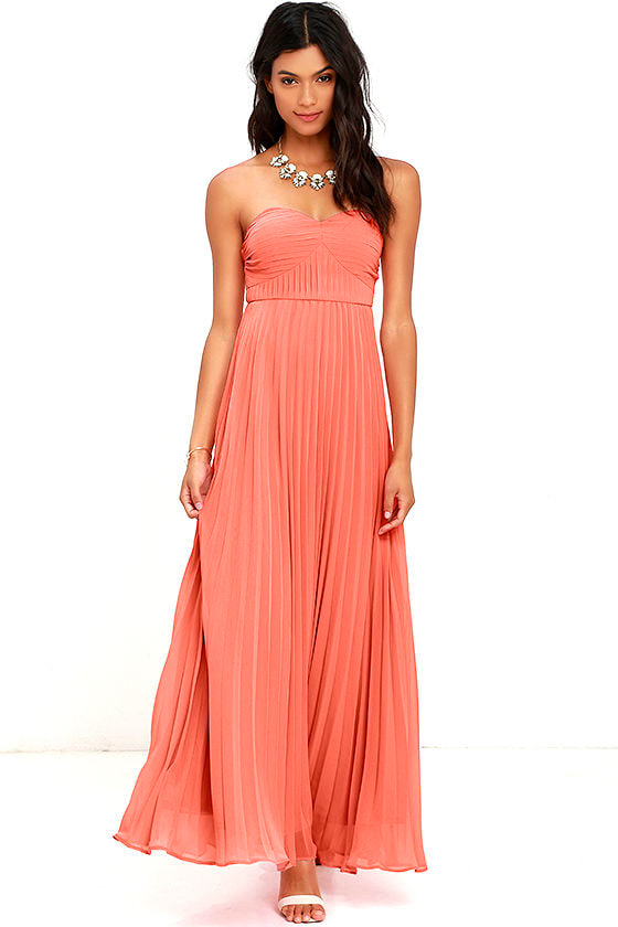 Coral Pink Dress - Maxi Dress - Strapless Dress - Pleated Dress ...