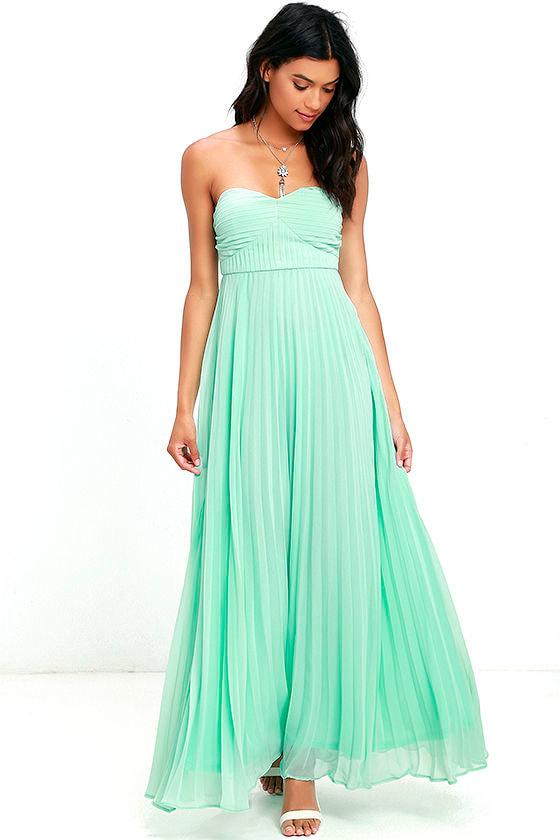 Mint Green Dress - Maxi Dress - Strapless Dress - Pleated Dress ...