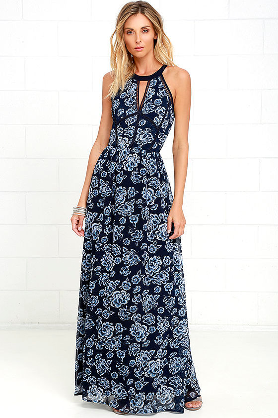 Stunning Navy Blue Maxi Dress - Floral Print Dress - Gown - $74.00