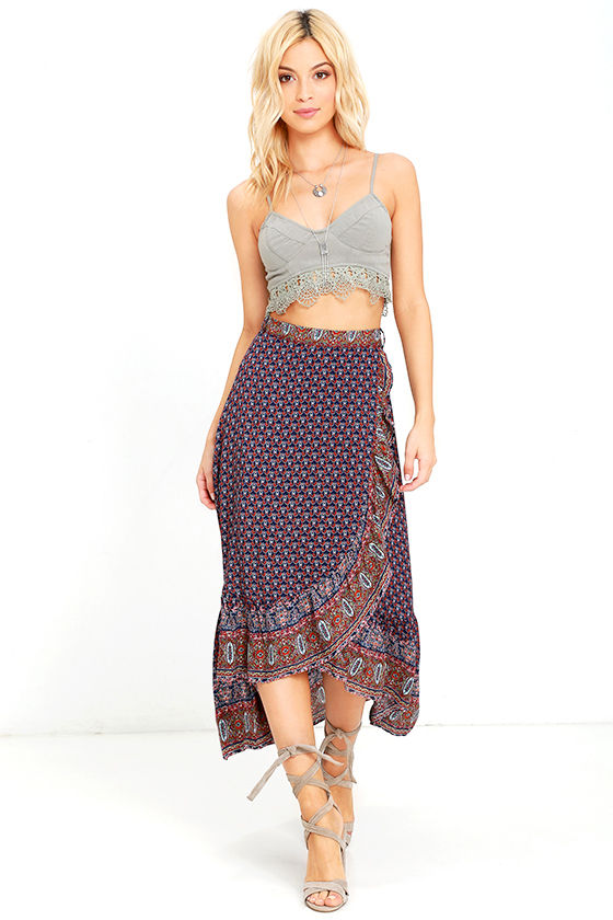 Blue High Low Skirts