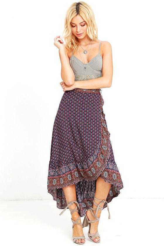 d67728077 Boho Navy Blue Print Skirt - Wrap Skirt - High-Low Skirt - $46.00