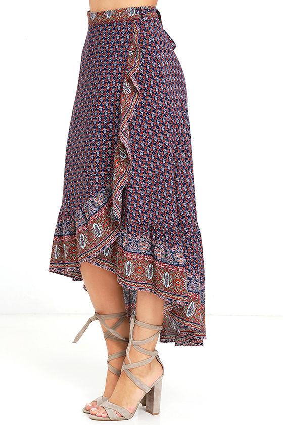 boho navy blue print skirt wrap skirt high low skirt